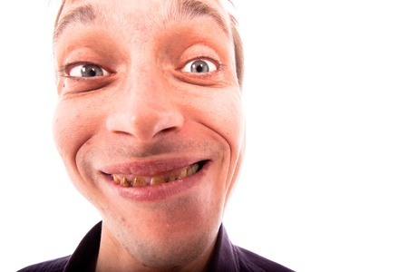 Detail of ugly man face, isolated on white background.