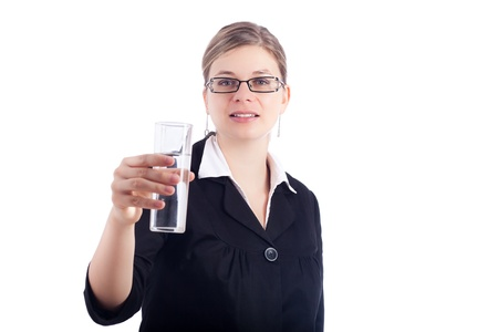 Business woman holding glass of water, isolated on white background. photo