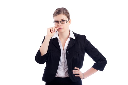Nervous stressed business woman biting her nails, isolated on white background. photo