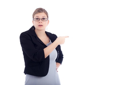 Angry young business woman blaming, isolated on white background. Stockfoto