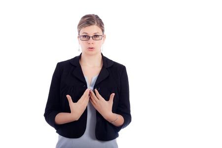 calm down: Giovane donna di affari prendendo un profondo respiro per calmarsi, isolato su sfondo bianco. Archivio Fotografico
