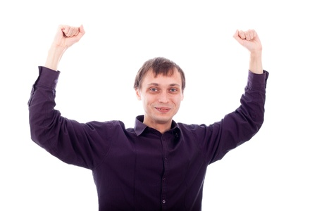 repulsive: Happy nerd with hands up, isolated on white background. Stock Photo