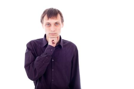 weirdo: Portrait of weirdo man thinking, isolated on white background.
