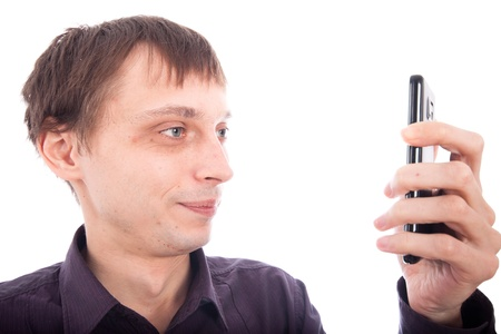 Weirdo man looking at cellphone, isolated on white background. photo