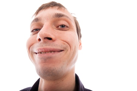 Ugly man face, isolated on white background.
