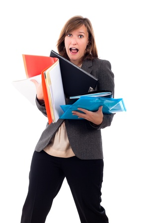 hurrying: Portrait of stressed busy young business woman hurrying, isolated on white background.