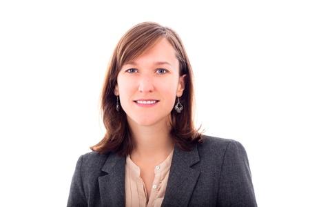 젊은 비즈니스 여자는 흰색 배경에 고립의 초상화.