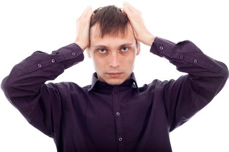 weirdo: Portrait of stressed tired man, isolated on white background. Stock Photo