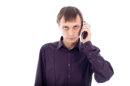 repulsive: Serious weirdo man on the phone, isolated on white background. Stock Photo