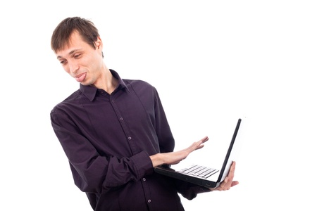 disgusting: Funny weirdo disgusted man holding laptop, isolated on white background.