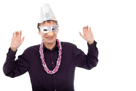 repulsive: Funny ugly nerd man wearing party mask, isolated on white background. Stock Photo