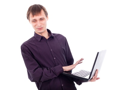 disgusting: Funny weirdo man holding laptop, isolated on white background.
