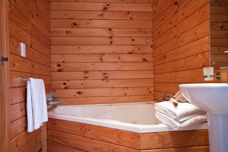 blockh�tte: Wooden bathroom interior in Bergh�tte Wohnung. Fox Glacier Lodge, Fox Glacier, West Coast, South Island, New Zealand.