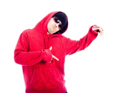 Hip Hop dancer in red hoodie pointing, isolated on white background. photo