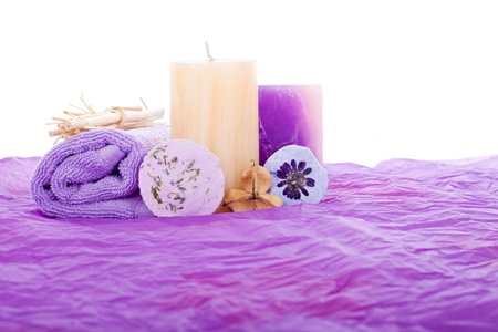 candles spa: Purple Spa set, isolated on white background. Stock Photo