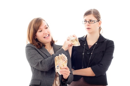 Two business women with Euro banknotes, making and losing money concept, isolated on white background. photo