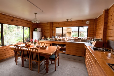 lodges: Lodge breakfast room interior. Fox Glacier Lodge, Fox Glacier, West Coast, South Island, New Zealand. Stock Photo
