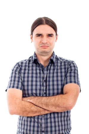 Photo of young unhappy sad man, isolated on white background. Stock Photo
