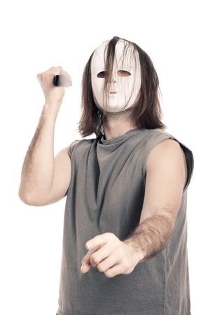 Horror man with scary mask and knife, isolated on white background. Stock Photo - 12803950