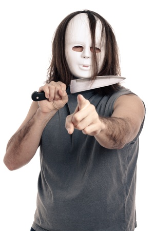 Scary horror man holding knife and pointing at you, isolated on white background. Stock Photo - 12803940
