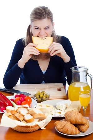 Funny happy woman eating cheese, isolated on white background.