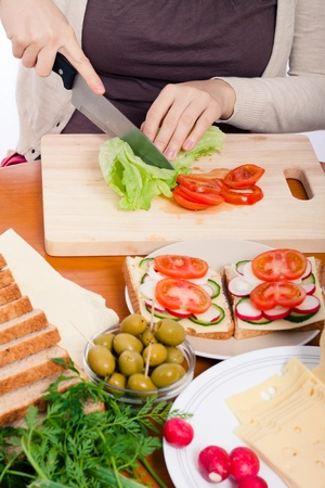Detail of kitchen table, woman cutting fresh vegetable and making sandwiches. Stock Photo - 13106649