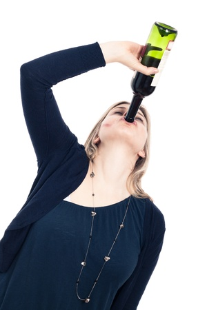 Portrait of young drunk woman drinking wine, isolated on white background.