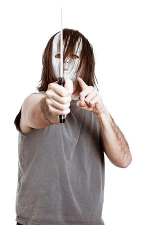 menacing: Horror scary masked menacing man with knife, isolated on white background.