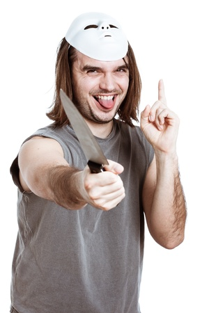 slayer: Scary horror man laughing and assaulting with knife, isolated on white background.