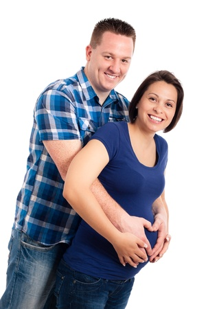 Happy pregnant woman and her husband, isolated on white background. Stock Photo - 13338135