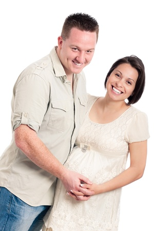 Beautiful young happy smiling pregnant couple, isolated on white background. Stock Photo - 13712158