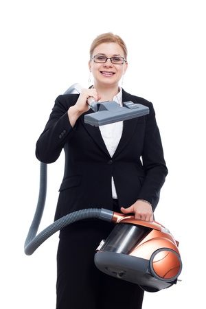 Happy smiling businesswoman with vacuum cleaner, isolated on white background. photo