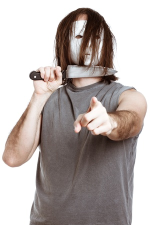 Scary horror man with knife, pointing at you, isolated on white background. Stock Photo - 14189994