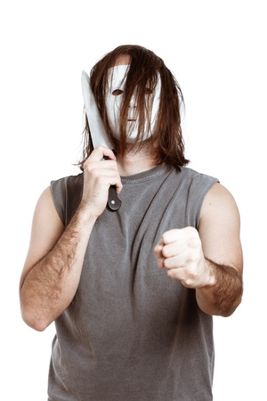 Angry psycho horror man with knife, isolated on white background. Stock Photo - 14189992