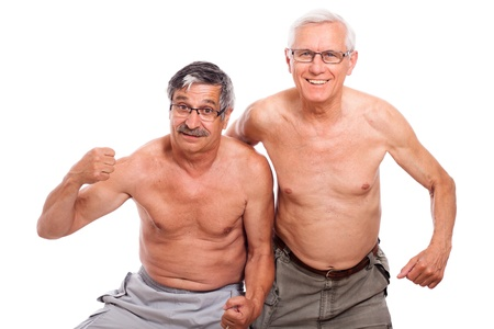 Two happy naked senior men showing body, isolated on white background.