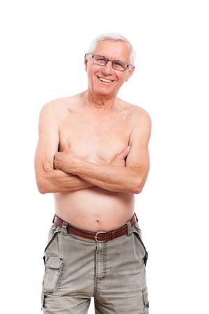 Portrait of happy smiling naked elderly man, isolated on white background. Stock Photo - 14189939