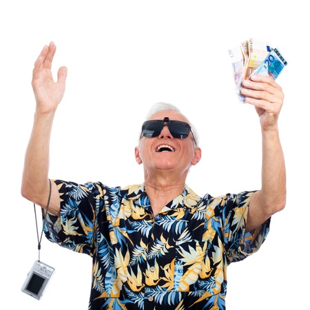 Satisfied happy rich senior man with money, isolated on white background. Stockfoto