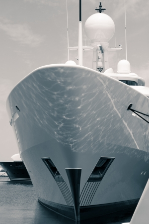 a big ship: Detail of luxury yacht in port, digitally retouched and toned photo.