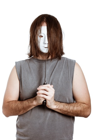 Psycho horror masked man with knife, isolated on white background. photo