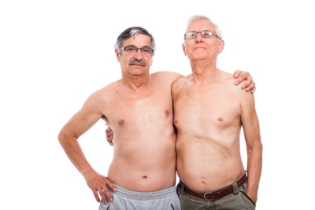 Portrait of two nude elderly men, isolated on white background. photo