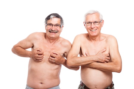 Two funny nude senior men showing body, isolated on white background.