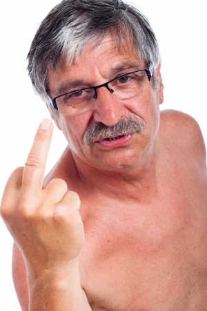 Close up of angry middle aged man rude gesturing, isolated on white background. photo