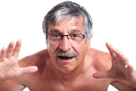 white moustache: Close up of surprised middle aged man gesturing, isolated on white background.