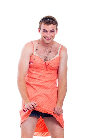 as: Funny transvestite man dressed as woman, isolated on white background. Stock Photo