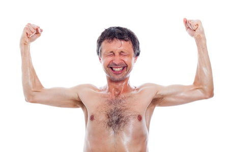 Funny nerd man showing muscles, isolated on white background. photo