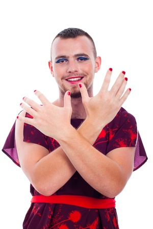 shemale: Happy transvestite man dressed as woman, isolated on white background.