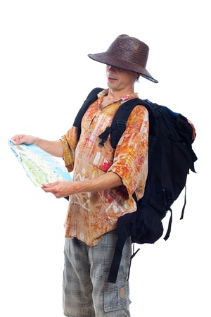 Man traveling with backpack and map, isolated on white background. photo