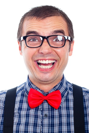 Portrait of funny nerd man laughing, isolated on white background. photo