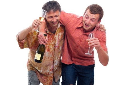 drunkenness: Two happy drunken men with bottle and glass of alcohol, isolated on white background.