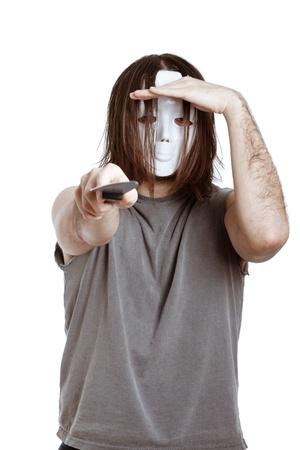 Scary masked man with knife, isolated on white background. Stock Photo - 15152736